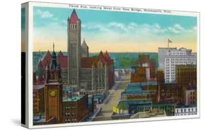 Minneapolis, Minnesota - Western View from New Bridge of Third Avenue-Lantern Press-Stretched Canvas Print