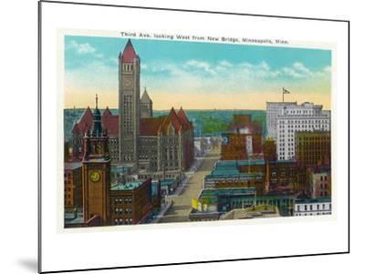 Minneapolis, Minnesota - Western View from New Bridge of Third Avenue-Lantern Press-Mounted Art Print