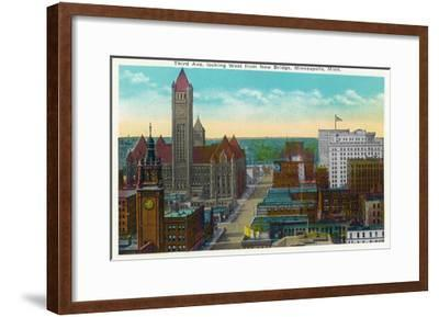 Minneapolis, Minnesota - Western View from New Bridge of Third Avenue-Lantern Press-Framed Art Print