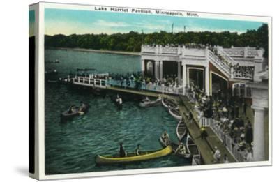 Minneapolis, Minnesota - View of Lake Harriet Pavilion-Lantern Press-Stretched Canvas Print