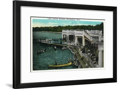 Minneapolis, Minnesota - View of Lake Harriet Pavilion-Lantern Press-Framed Art Print
