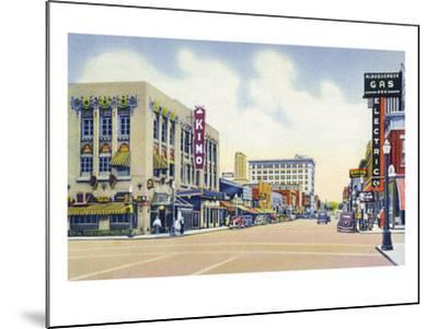 Albuquerque, New Mexico - Eastern View Up Central Avenue-Lantern Press-Mounted Art Print