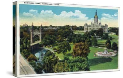Hartford, Connecticut - Bushnell Park Scene-Lantern Press-Stretched Canvas Print