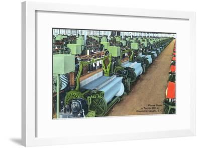 South Carolina - Greenville County Textile Mill Weave Room-Lantern Press-Framed Art Print