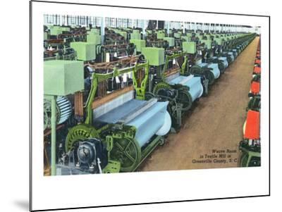 South Carolina - Greenville County Textile Mill Weave Room-Lantern Press-Mounted Art Print
