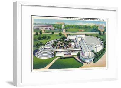 New York, New York - Aerial View of Ford Building at World's Fair-Lantern Press-Framed Art Print