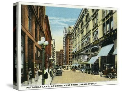 Kansas City, Missouri - Western View Down Petticoat Lane from Grand Avenue-Lantern Press-Stretched Canvas Print