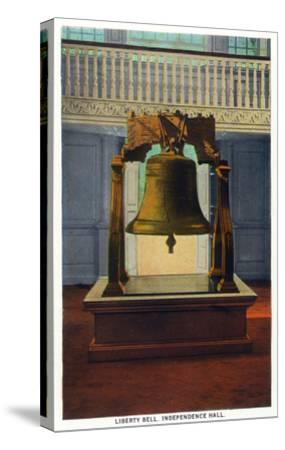 Philadelphia, Pennsylvania - Independence Hall Liberty Bell Scene-Lantern Press-Stretched Canvas Print