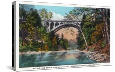 Philadelphia, Pennsylvania - Walnut Lane Bridge over Wissahickon River-Lantern Press-Stretched Canvas Print
