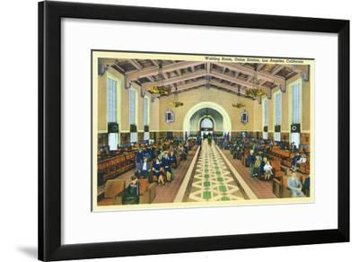 Los Angeles, California - Union Station Interior View of Waiting Room-Lantern Press-Framed Art Print