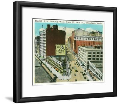 Cleveland, Ohio - Euclid Avenue West from 14th Street East-Lantern Press-Framed Art Print