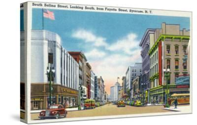 Syracuse, New York - South View Down Salina St from Fayette St-Lantern Press-Stretched Canvas Print