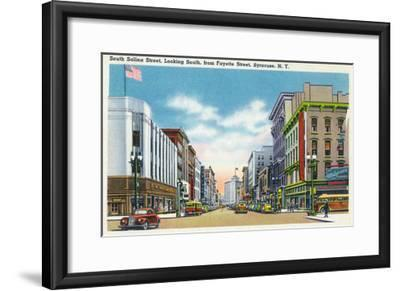 Syracuse, New York - South View Down Salina St from Fayette St-Lantern Press-Framed Art Print
