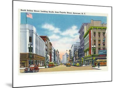 Syracuse, New York - South View Down Salina St from Fayette St-Lantern Press-Mounted Art Print