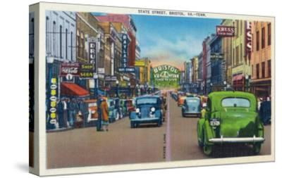 Bristol, Virginia - View of State Street and Bristol, Tennessee-Lantern Press-Stretched Canvas Print