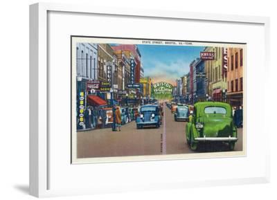 Bristol, Virginia - View of State Street and Bristol, Tennessee-Lantern Press-Framed Art Print