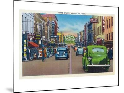 Bristol, Virginia - View of State Street and Bristol, Tennessee-Lantern Press-Mounted Art Print