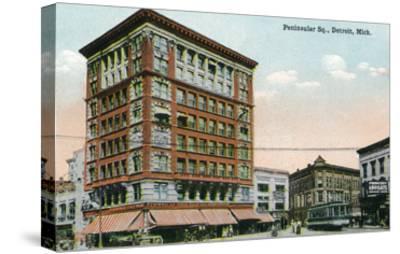 Detroit, Michigan - View of Peninsular Square-Lantern Press-Stretched Canvas Print