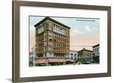 Detroit, Michigan - View of Peninsular Square-Lantern Press-Framed Art Print