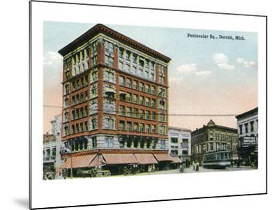 Detroit, Michigan - View of Peninsular Square-Lantern Press-Mounted Art Print