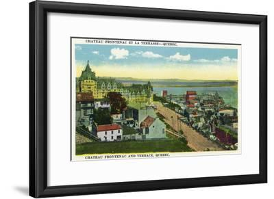 Quebec, Canada - Chateau Frontenac and Terrace Scene-Lantern Press-Framed Art Print