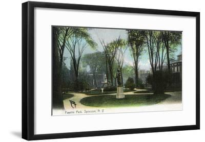 Syracuse, New York - Scenic View of Statue in Fayette Park-Lantern Press-Framed Art Print