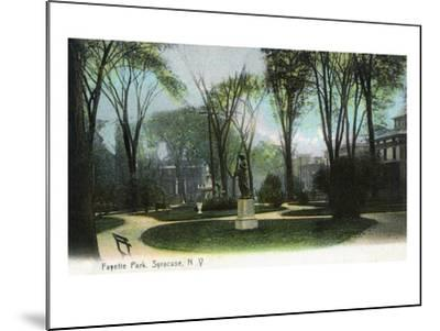 Syracuse, New York - Scenic View of Statue in Fayette Park-Lantern Press-Mounted Art Print
