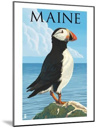 Maine - Puffin on Rock Scene-Lantern Press-Mounted Art Print