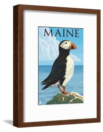 Maine - Puffin on Rock Scene-Lantern Press-Framed Art Print