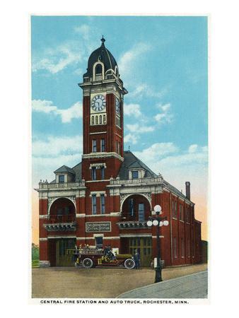 Rochester, Minnesota - Central Fire Station Exterior View-Lantern Press-Framed Art Print