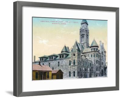 Wichita, Kansas - Central Fire Station and City Hall Exterior View-Lantern Press-Framed Art Print