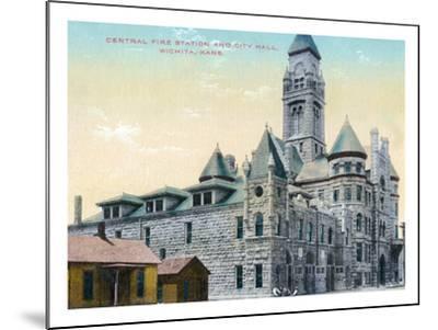 Wichita, Kansas - Central Fire Station and City Hall Exterior View-Lantern Press-Mounted Art Print
