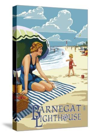 Barnegat Light, New Jersey - Beach Scene-Lantern Press-Stretched Canvas Print