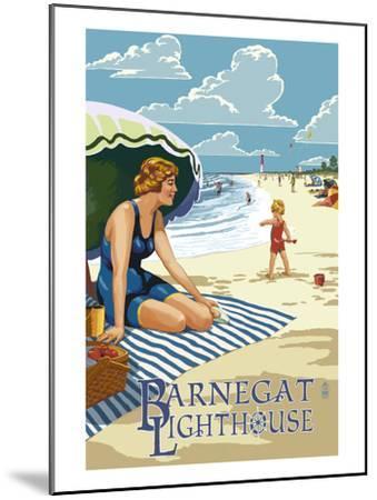 Barnegat Light, New Jersey - Beach Scene-Lantern Press-Mounted Art Print