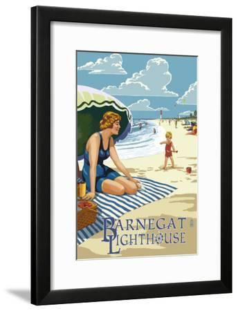 Barnegat Light, New Jersey - Beach Scene-Lantern Press-Framed Art Print