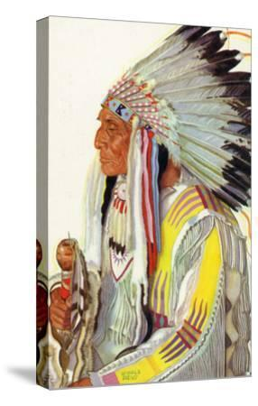 Portrait of Wades-In-The-Water, a Blackfeet Chieftain-Lantern Press-Stretched Canvas Print