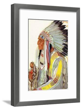 Portrait of Wades-In-The-Water, a Blackfeet Chieftain-Lantern Press-Framed Art Print