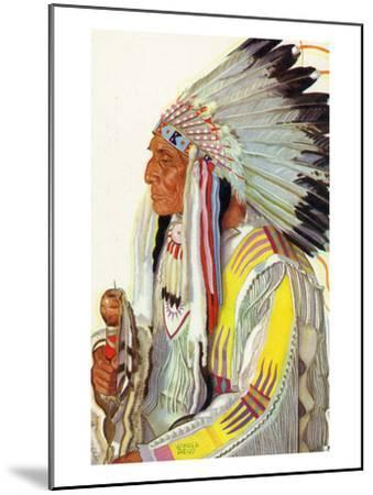 Portrait of Wades-In-The-Water, a Blackfeet Chieftain-Lantern Press-Mounted Art Print