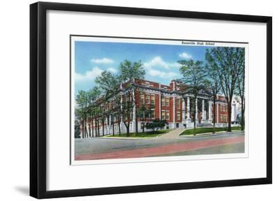 Knoxville, Tennessee - Exterior View of Knoxville High School-Lantern Press-Framed Art Print