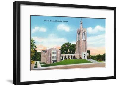 Knoxville, Tennessee - Exterior View of the Methodist Church on Church Street-Lantern Press-Framed Art Print