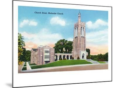 Knoxville, Tennessee - Exterior View of the Methodist Church on Church Street-Lantern Press-Mounted Art Print