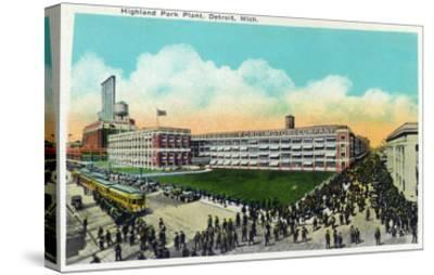 Detroit, Michigan - Highland Park Plant Exterior-Lantern Press-Stretched Canvas Print