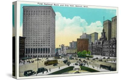 Detroit, Michigan - First National Bank, City Hall Exterior-Lantern Press-Stretched Canvas Print
