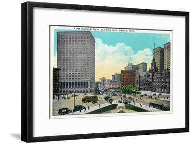 Detroit, Michigan - First National Bank, City Hall Exterior-Lantern Press-Framed Art Print