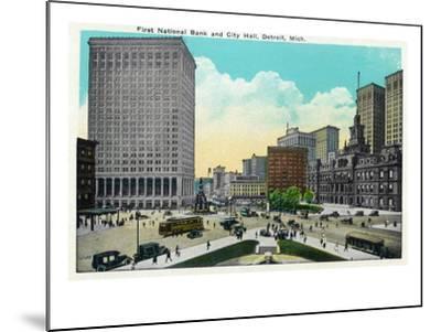 Detroit, Michigan - First National Bank, City Hall Exterior-Lantern Press-Mounted Art Print