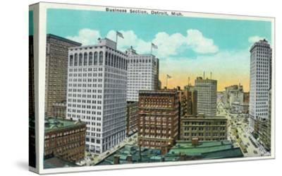 Detroit, Michigan - Aerial View of Downtown-Lantern Press-Stretched Canvas Print