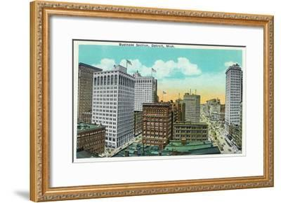 Detroit, Michigan - Aerial View of Downtown-Lantern Press-Framed Art Print