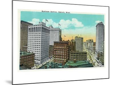 Detroit, Michigan - Aerial View of Downtown-Lantern Press-Mounted Art Print