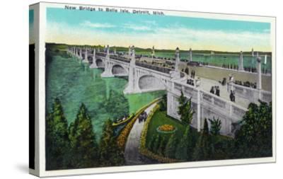 Detroit, Michigan - New Belle Isle Bridge-Lantern Press-Stretched Canvas Print