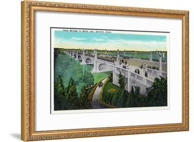 Detroit, Michigan - New Belle Isle Bridge-Lantern Press-Framed Art Print